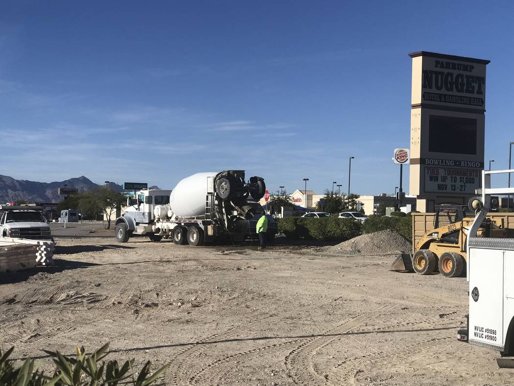 Jeffrey Meehan/Pahrump Valley Times Crews work at the Pahrump Bank of America branch at 750 S. Highway 160 on Nov. 12, 2018. The branch is working to ad additional federal Americans with Disabilit ...