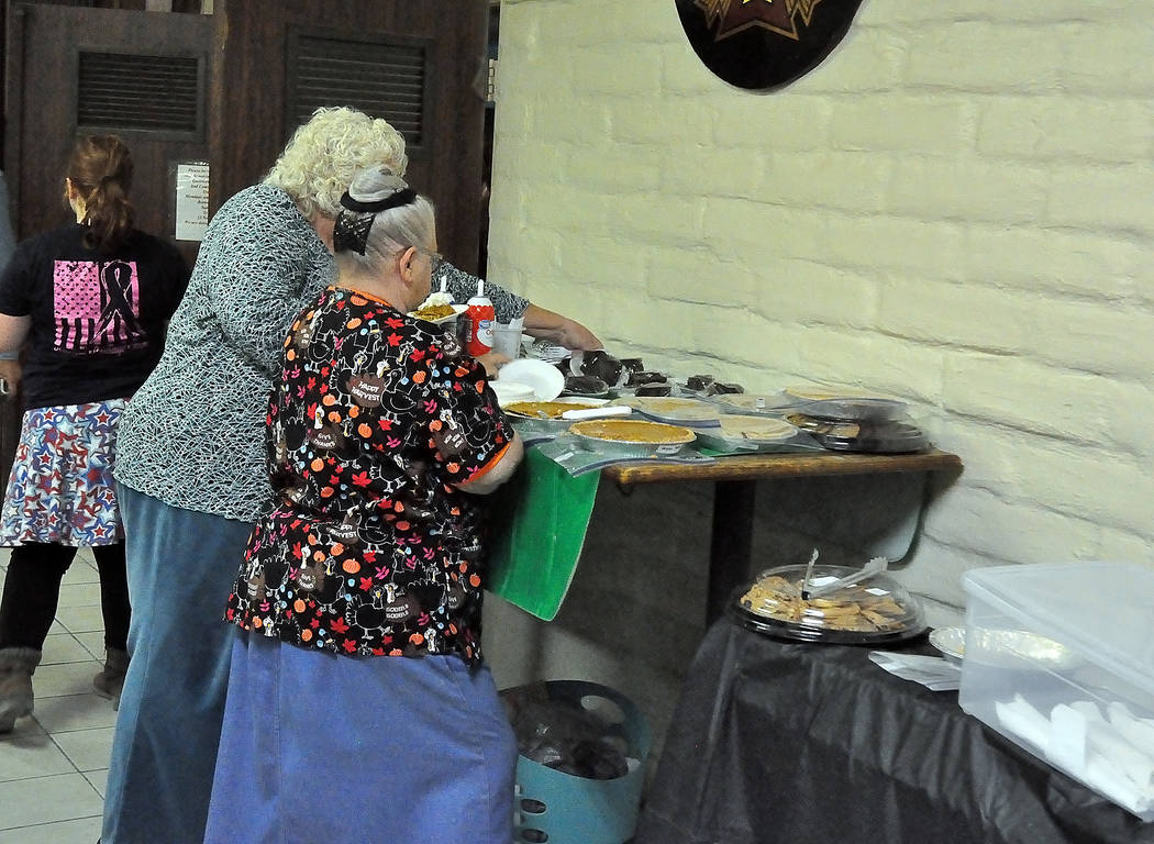 Horace Langford Jr./Pahrump Valley Times - In true Thanksgiving style, there was plenty of pie and sweets for veterans to enjoy after devouring their delicious, free turkey meal.