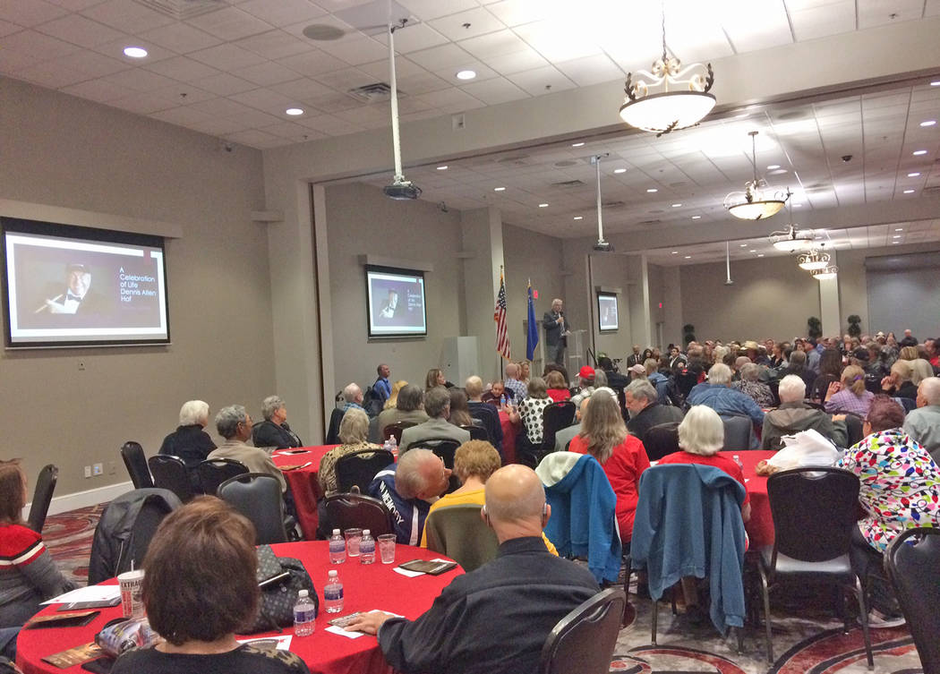Robin Hebrock/Pahrump Valley Times The Pahrump Nugget Events Center was filled to bursting with residents celebrating the life and memory of Dennis Hof on Nov. 16.