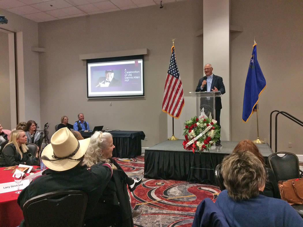 "Robin Hebrock/Pahrump Valley Times Chuck Muth, manager for the Dennis Hof campaign, was one of many to speak before a crowd of hundreds at the ""Rest in Love"" Dennis Hof memorial service."