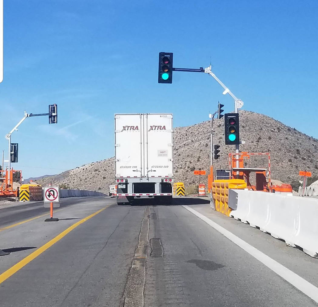 David Jacobs/Pahrump Valley Times The light is a temporary fix to help Mountain Springs residents more safely pull-out onto Nevada Highway 160, NDOT spokesman Tony Illia reported.