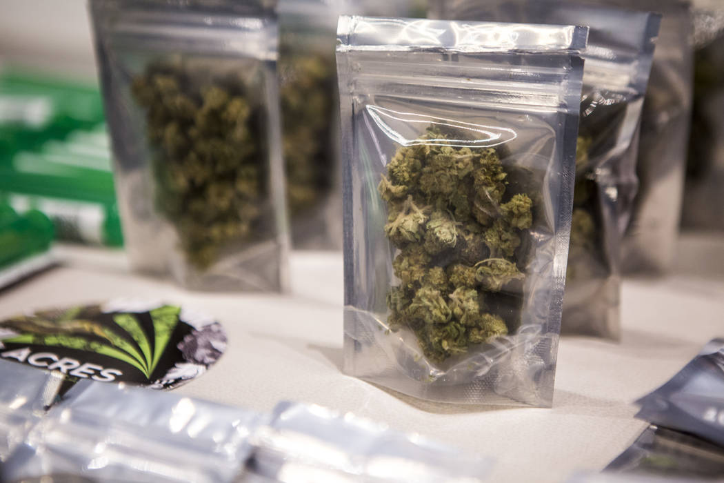 Marijuana displayed for sale at Acres Dispensary on Friday, April 23, 2018. (Las Vegas Review-Journal)