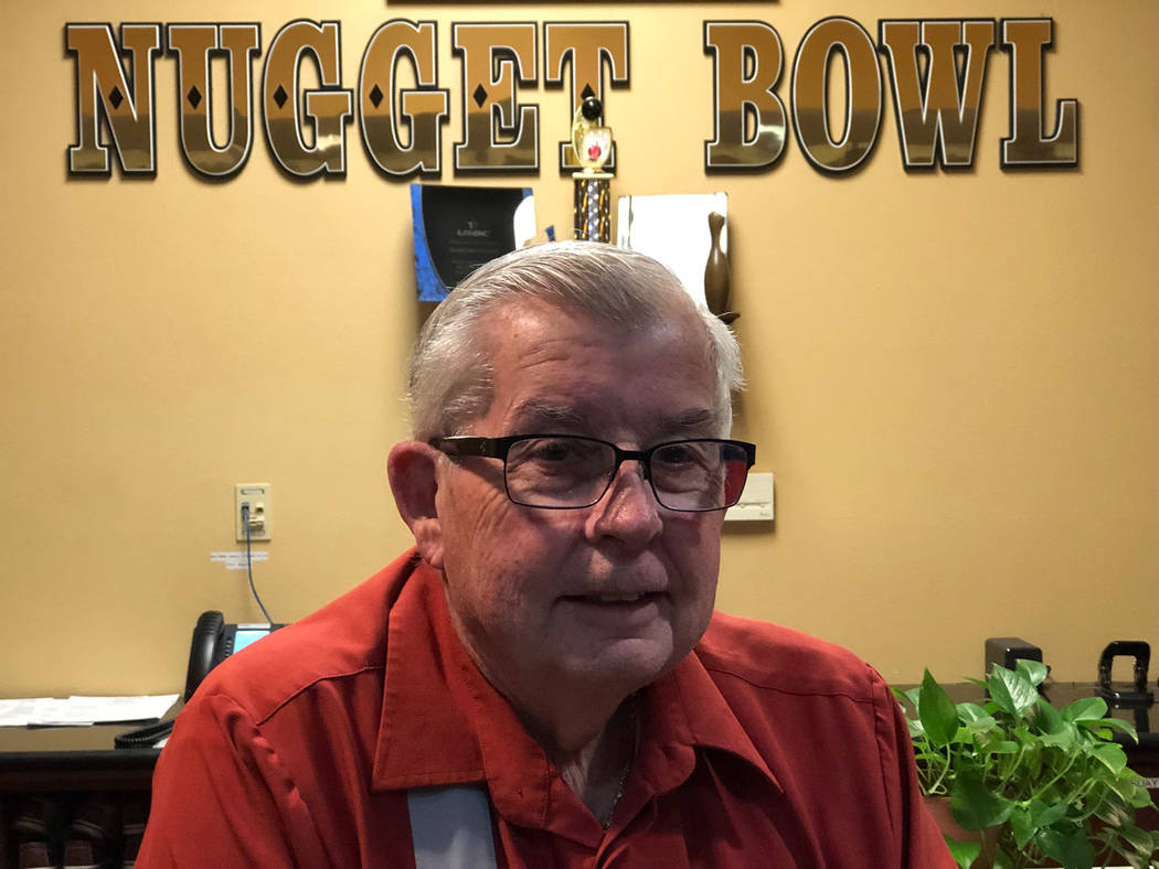 Tom Rysinski/Pahrump Valley Times Dale Bystedt, 77, at his post at the front desk of the Pahrump Nugget Bowling Center. Bystedt rolled his fourth 300 game last week.