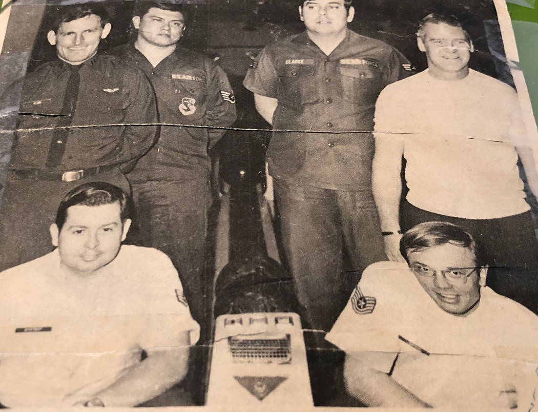 Tom Rysinski/Pahrump Valley Times Dale Bystedt, front left, with others representing Kincheloe Air Force Base in Michigan at a bowling tournament in the early 1970s.
