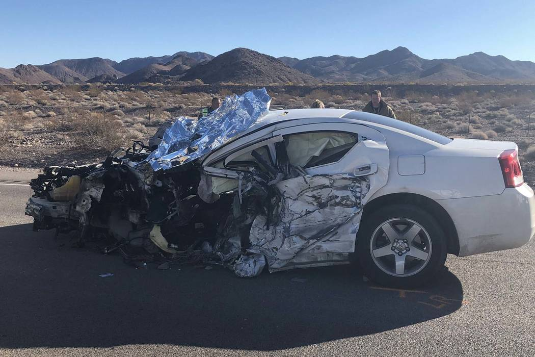 The Nevada Highway Patrol is investigating a fatal crash involving a car and tractor-trailer on U.S. Highway 95, south of Las Vegas, between Boulder City and Searchlight, Tuesday, Nov. 13, 2018. ( ...
