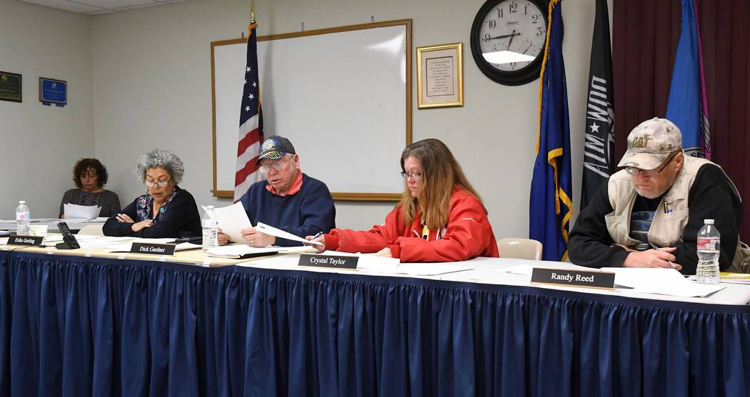 Richard Stephens/Special to the Pahrump Valley Times This photo shows members of the Beatty Town Board present: They are left to right Erika Gerling, Dick Gardner, Crystal Taylor, Randy Reed.