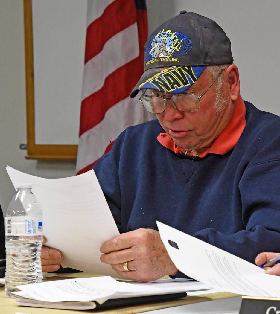 Richard Stephens/Special to the Pahrump Valley Times Beatty Town Board Chairman Dick Gardner is shown reading the proposed ordinance changes.