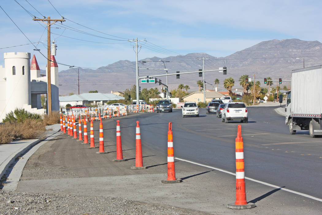 Robin Hebrock/Pahrump Valley Times A view of Homestead Road as it approaches the intersection of Highway 160, where the roadway has been awaiting repair for over a year.