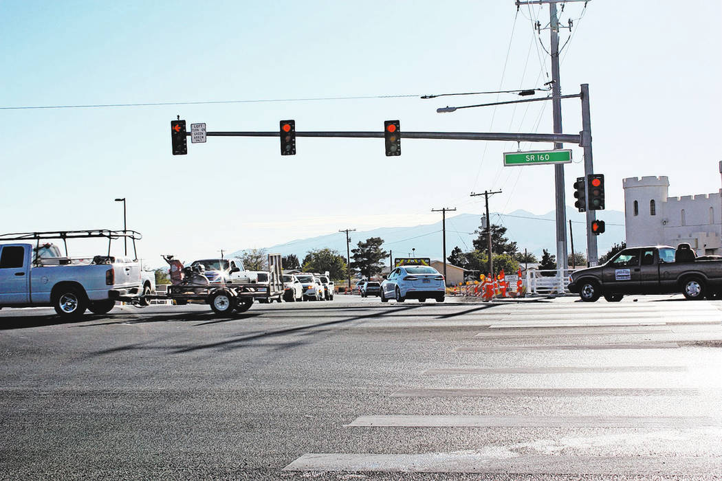Robin Hebrock/Pahrump Valley Times Another view of the very busy intersection at Highway 160 and Homestead Road, taken Nov. 20.