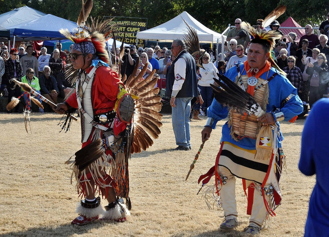 """Horace Langford Jr./Pahrump Valley Times Native American dancers participate in what's called the """"grand procession."""""""