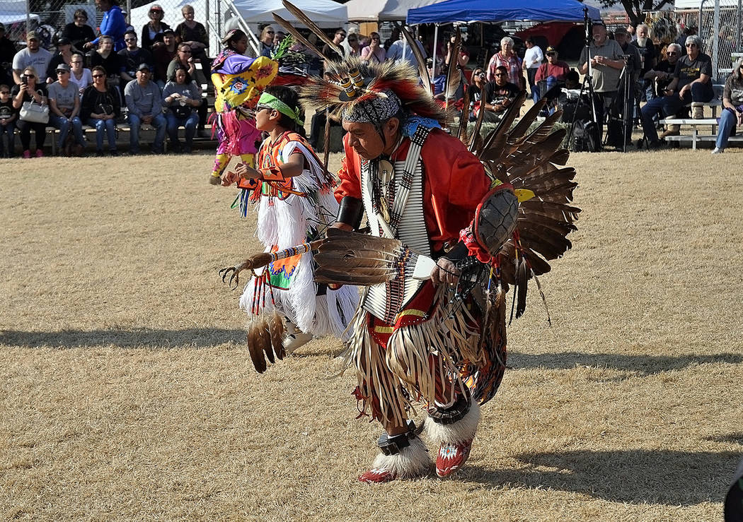 Horace Langford Jr./Pahrump Valley Times Two Grass Dancers perform a ritualistic dance on Saturday November 17.