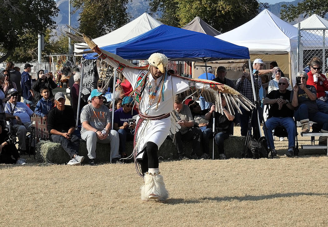 Horace Langford Jr./Pahrump Valley Times Attendees witness a Paiute Native American performing an Eagle Dance.