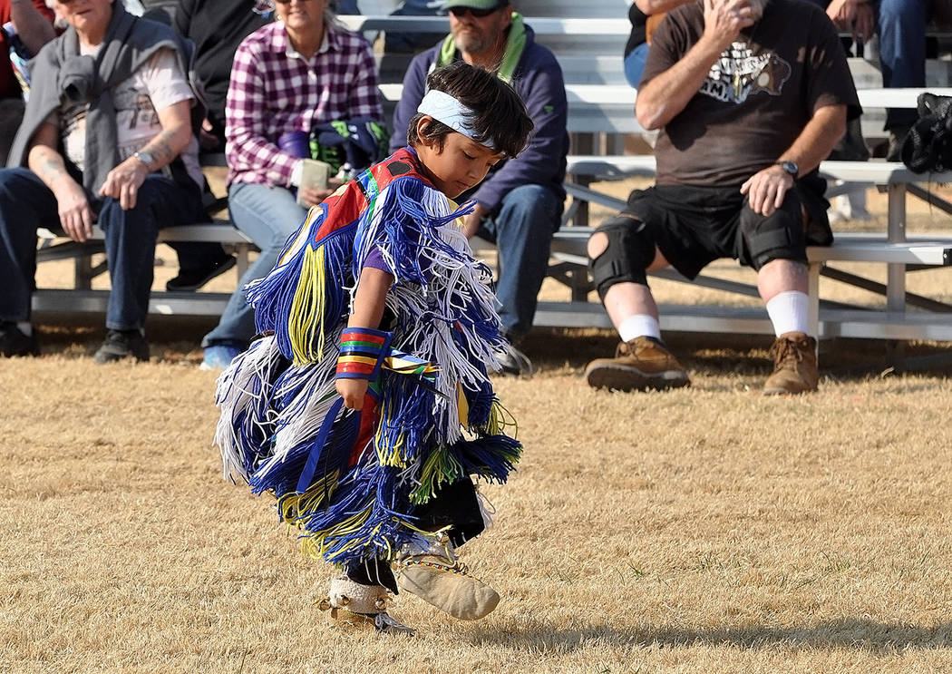 Horace Langford Jr./Pahrump Valley Times A young Grass Dancer executes meticulous moves during his solo performance.
