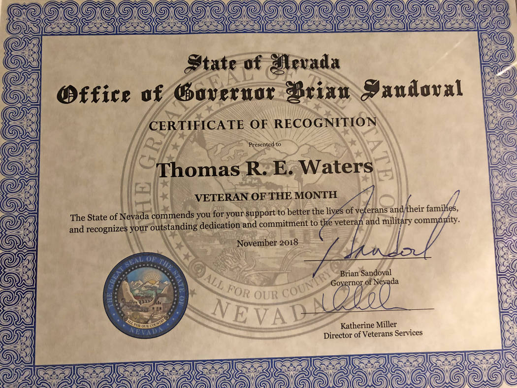 Special to the Pahrump Valley Times A certificate signed by Nevada Governor Brian Sandoval makes Dr. Tom Waters' recognition as Veteran of the Month official.