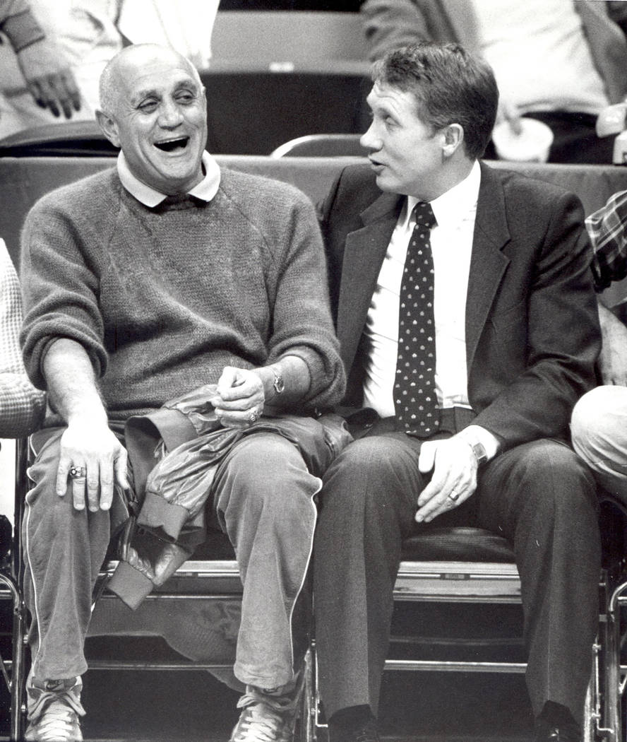 Harry Reid, right, with Jerry Tarkanian. December, 1983 (Las Vegas Review-Journal/Scott Henry)