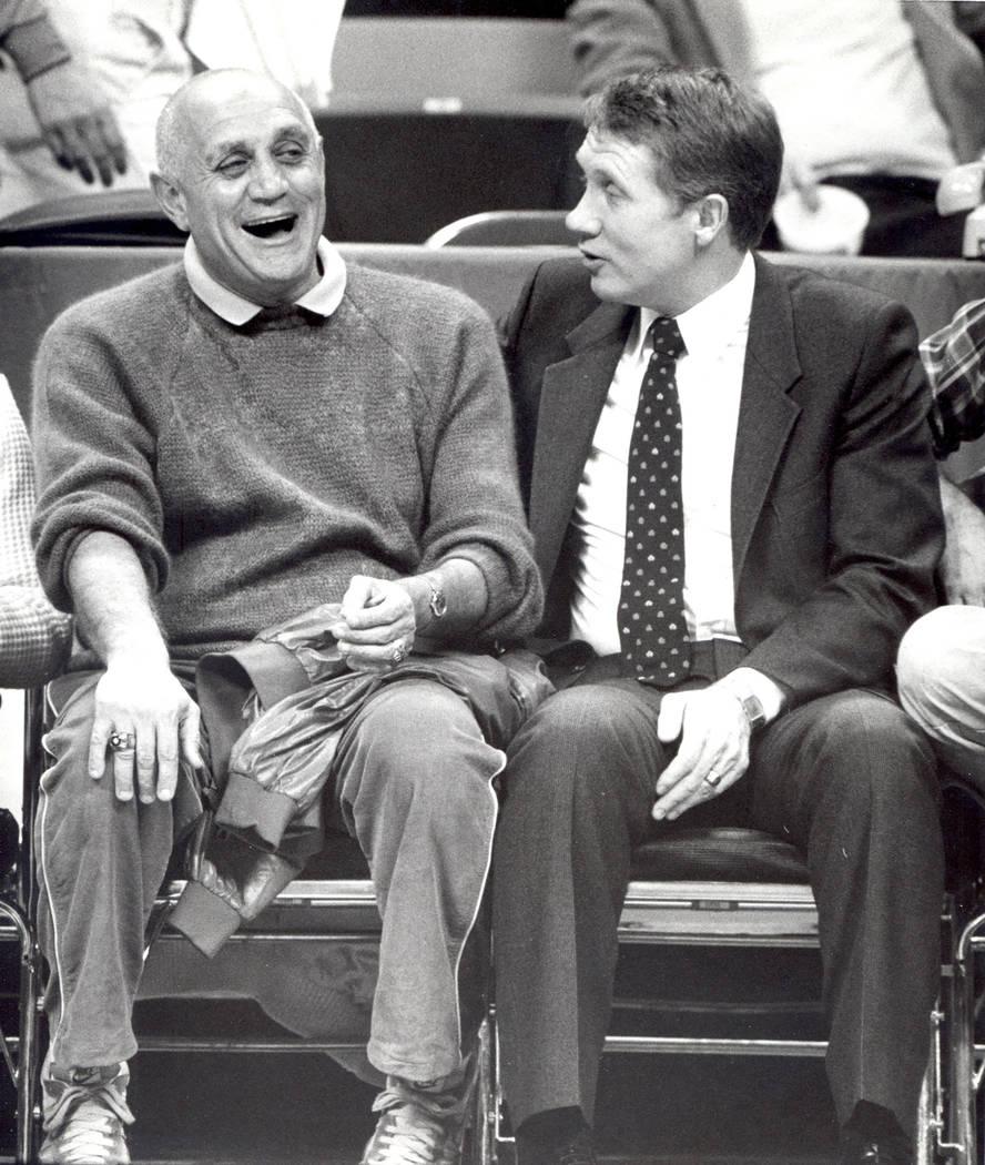 Harry Reid, right, with Jerry Tarkanian. December, 1983 (Las Vegas Review-Journal/Scott Henry)