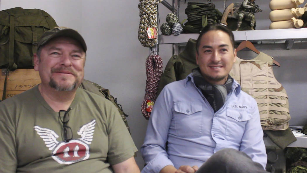 "Jeffrey Meehan/Pahrump Valley Times Edward Ledesma (left) sits with his business partner Mitchell Langon on Nov. 9, 2018. Langon, who was once featured on a survival reality TV show ""Men, Women, W ..."