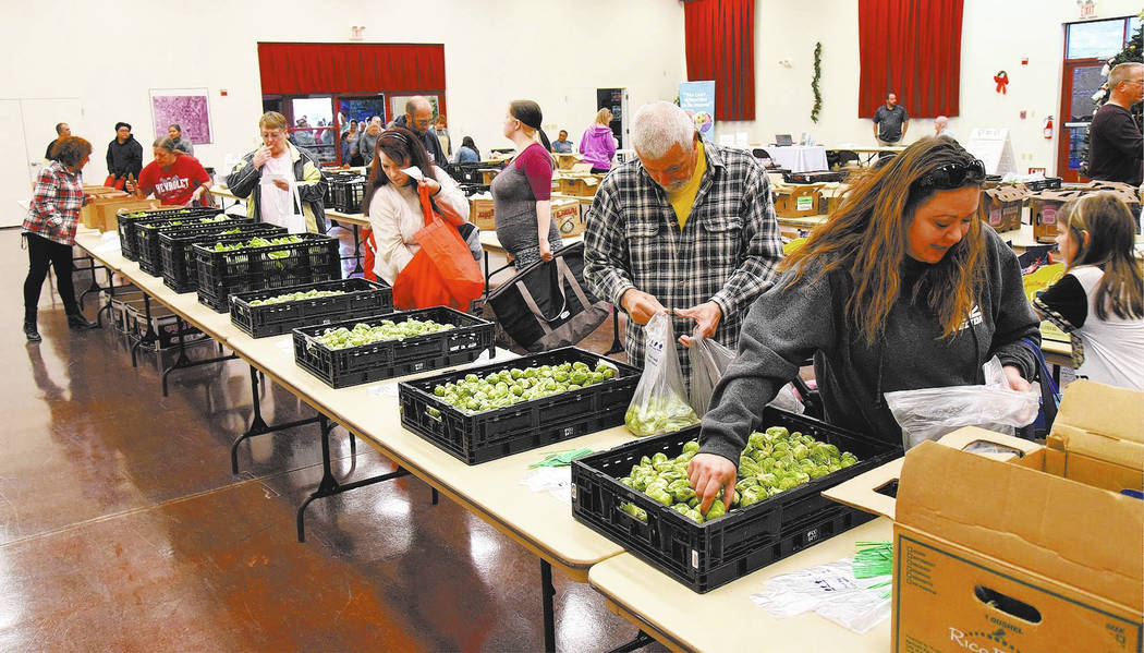 Richard Stephens/Special to the Pahrump Valley Times Locals who attended the event were able to select from what was still a good variety of produce at the Beatty Community Center. They were allo ...