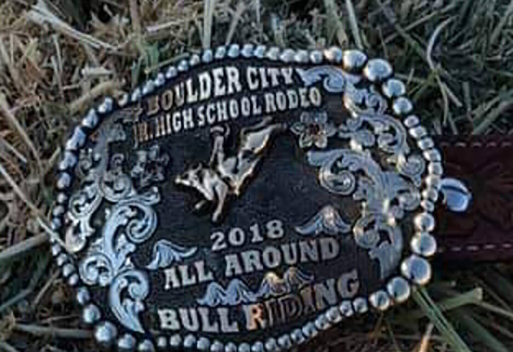 Buddy Krebs/Special to the Pahrump Valley Times Brandon Mountz won this buckle for his barrel riding win at the Boulder City junior high school rodeo last weekend.