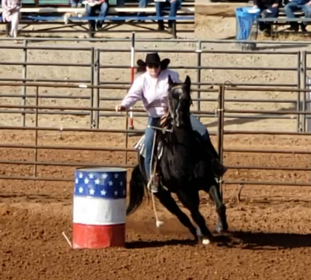 Buddy Krebs/Special to the Pahrump Valley Times Pahrump's Kyrstyn Peugh has the 12th-best combined time in barrel racing at a high school rodeo last weekend in Boulder City.