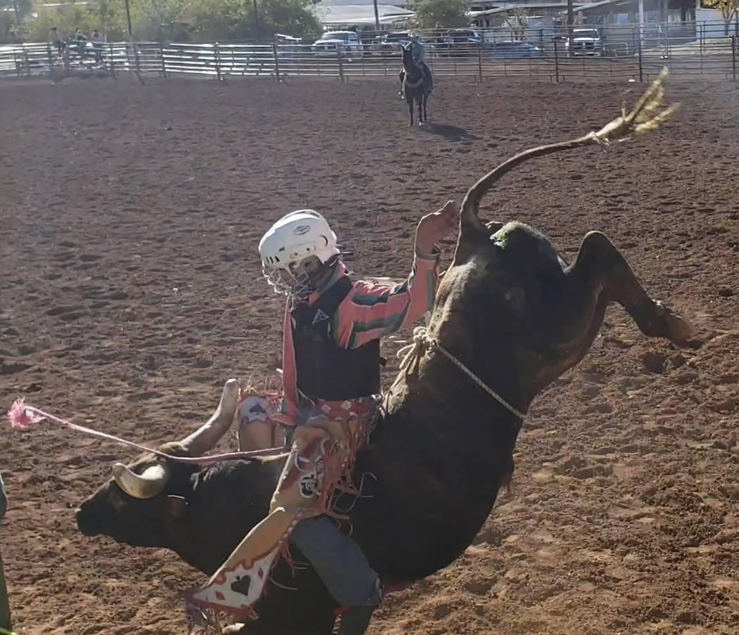 Buddy Krebs/Special to the Pahrump Valley Times Tye Hardy of Pahrump is the state's leading high school bull rider, increasing his lead after the Boulder City rodeo last weekend.