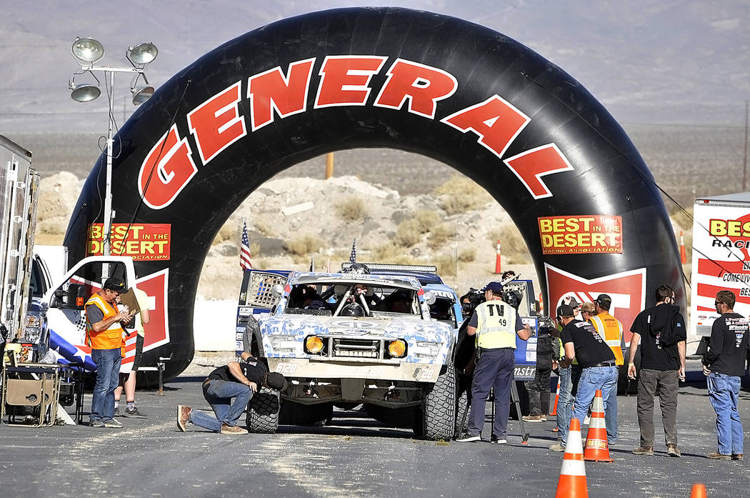 Horace Langford Jr./Pahrump Valley Times The finish line at last year's Pahrump Nugget 250 in the parking lot of the Pahrump Nugget.