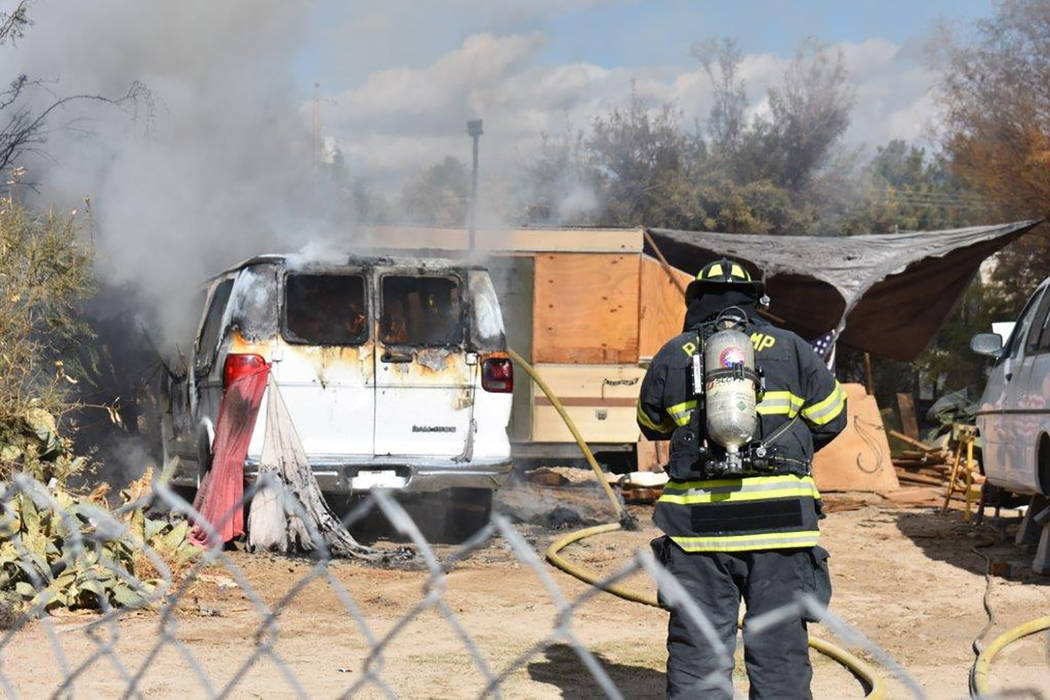 Special to the Pahrump Valley Times A vehicle fire along the 1300 block of West Windsong Lane prompted the quick response of Pahrump fire crews just before 11:30 a.m. on Thanksgiving Day. The init ...