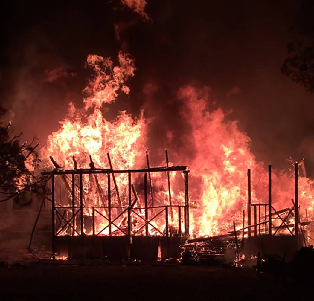 Alan Wertsbaugh/Special to the Pahrump Valley Times On Saturday November 17, fire crews were dispatched for a report of an early morning structure fire, along the 1100 block of East Dollar Street, ...