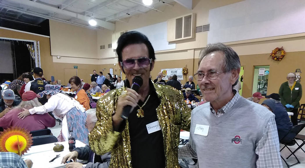 Selwyn Harris/Pahrump Valley Times Local entertainer Johnny V serenaded the hundreds of visitors attending the annual Thanksgiving Day dinner last Thursday.