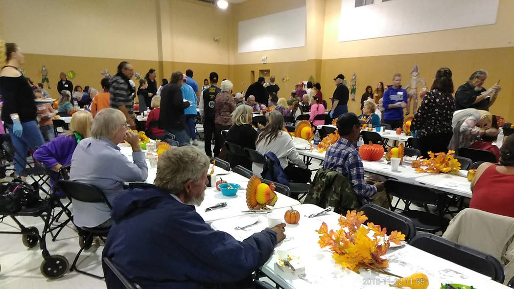 Selwyn Harris/Pahrump Valley Times A hot Thanksgiving Day dinner was served up courtesy of NyE Community Coalition's Holiday Task Force last Thursday. Paul Miller, Executive Chairman of the Holida ...
