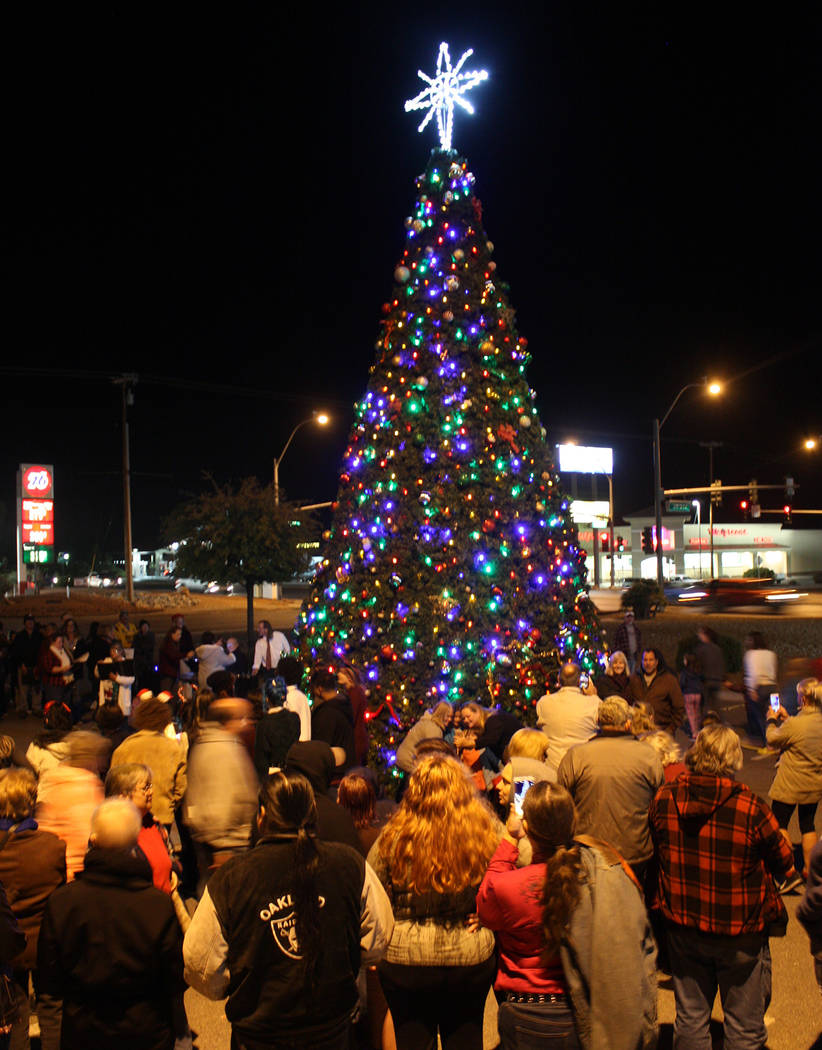 Robin Hebrock/Pahrump Valley Times A huge crowd gathered for the Community Christmas Tree Lighting, which took place Nov. 24.