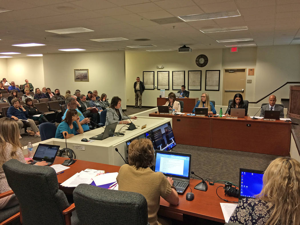 Robin Hebrock/Pahrump Valley Times Residents are shown speaking at the Nov. 20 Nye County Commission meeting during the item regarding Desert Haven Animal Society.