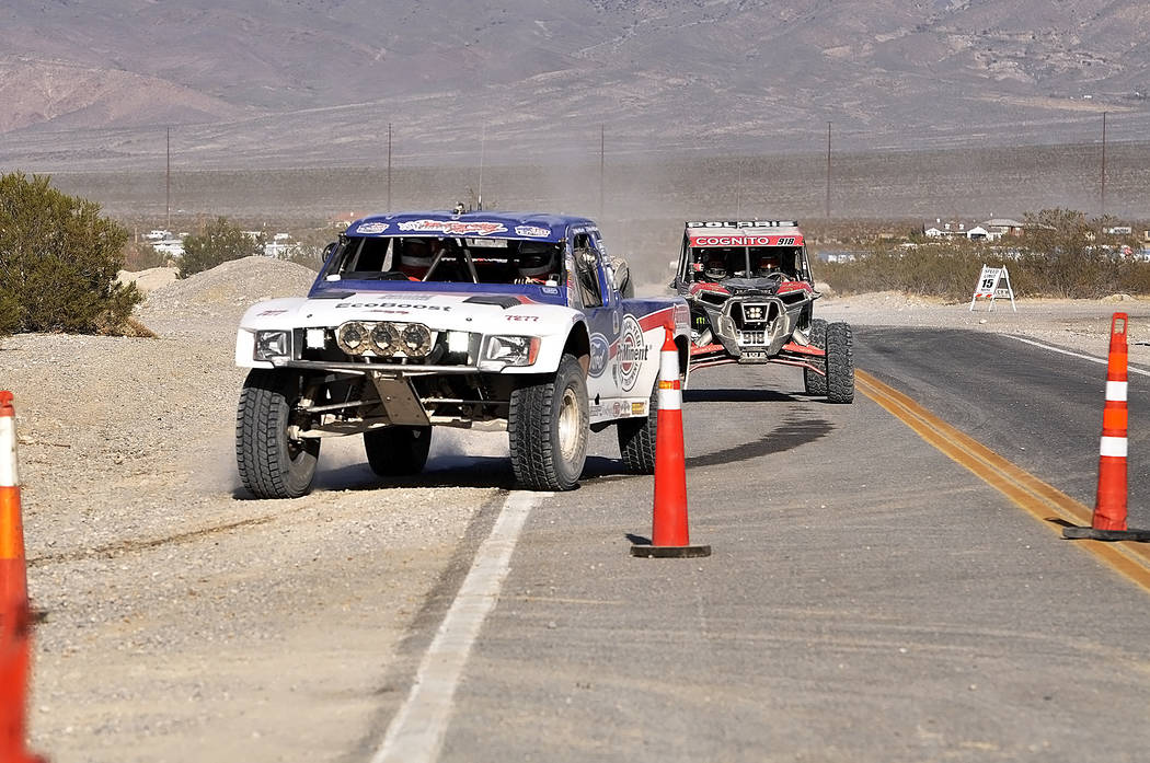 Horace Langford Jr./Pahrump Valley Times Mike McCarthy of Arizona followed by Justin Lambert of Bakersfield, California, during last year's Pahrump Nugget 250.