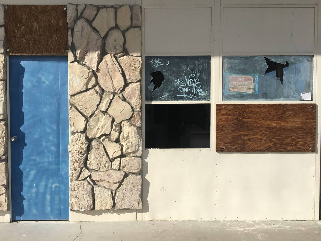 Homebuilders are ramping up activity in small towns outside Las Vegas, including Indian Springs, where this boarded-up building was photographed Tuesday, Nov. 20, 2018. (Eli Segall/Las Vegas Revie ...