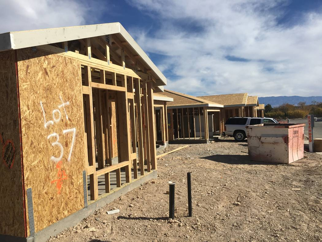 Homes under construction are seen Tuesday, Nov. 20, 2018, in Touchstone Living's project in Indian Springs. (Eli Segall/Las Vegas Review-Journal)