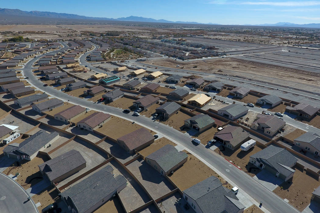 Aerial view of Burson Ranch in Pahrump, Nevada on Thursday, November 15, 2018, where developers have restarted a rural housing project. Michael Quine/Las Vegas Review-Journal.com @Vegas88s