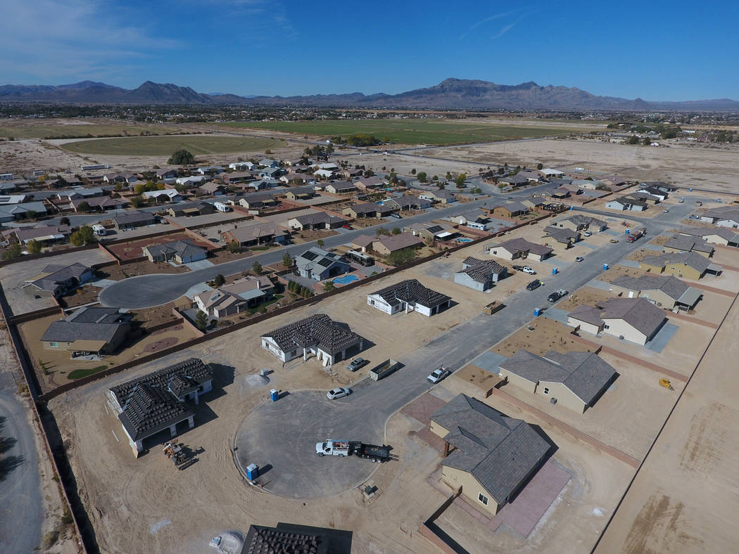 Aerial view of Cottage Grove Estates on Thursday, Nov. 15, 2018, in Pahrump, where developers have restarted the rural housing project. Michael Quine/Las Vegas Review-Journal.com @Vegas88s