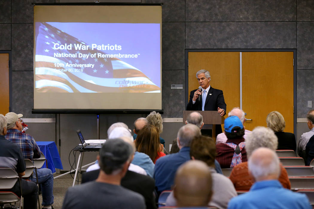 Glenn Podonsky, a former Department of Energy official, during the Official National Day of Remembrance honoring all Nevada Test Site workers, their family members and friends at National Atomic T ...