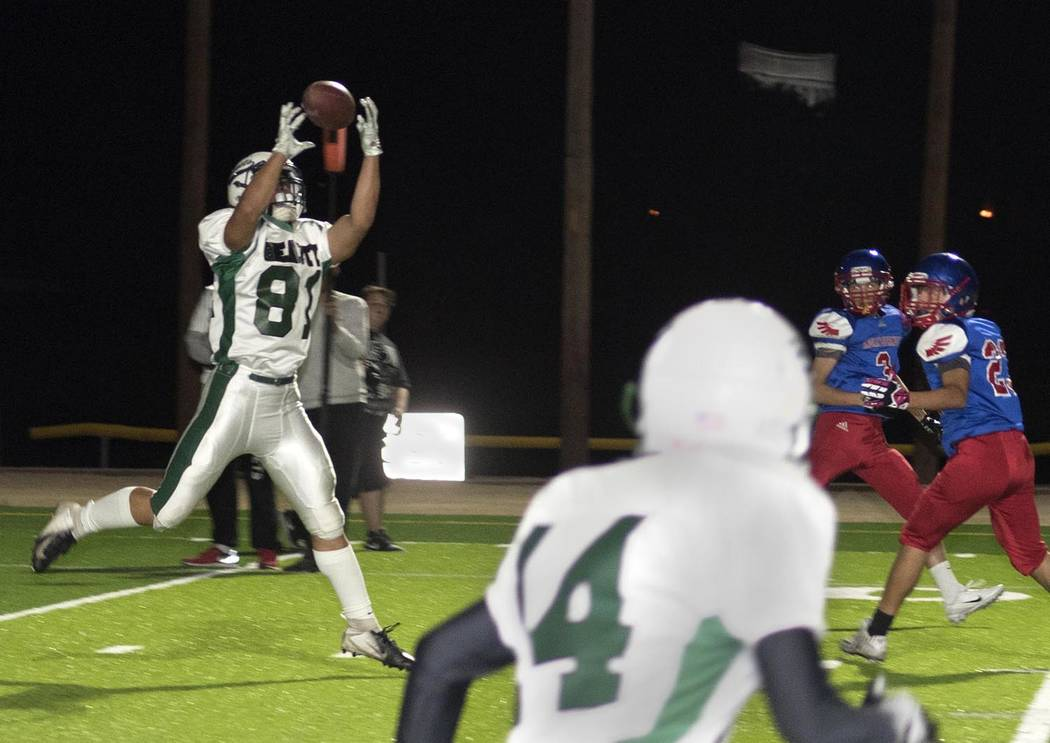 Richard Stephens/Special to the Pahrump Valley Times Beatty senior Max Taylor leaps to intercept a pass against Indian Springs during the Hornets' 38-0 win over the Thunderbirds on Oct. 25 in Beat ...