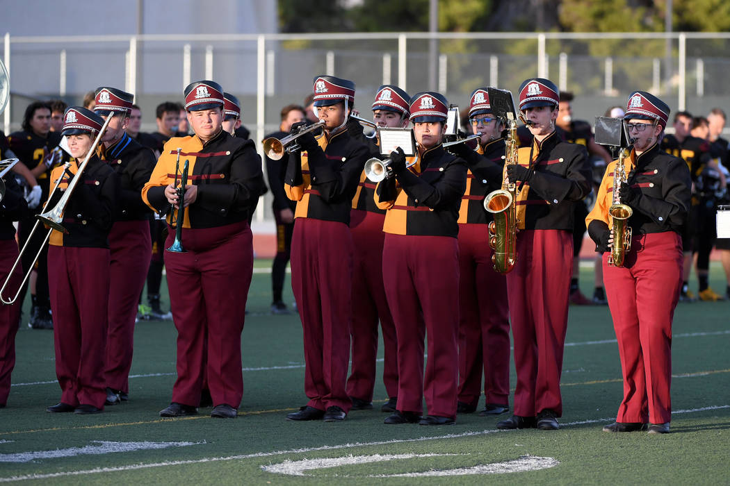 Peter Davis/Special to the Pahrump Valley Times The Golden Legion Marching Band performs at halftime of Pahrump Valley's Senior Night game against Western on Friday at Trojan Field.