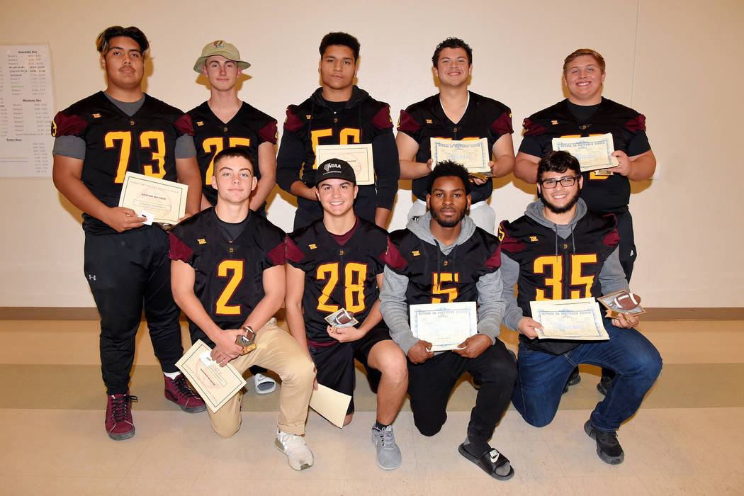 Peter Davis/Special to the Pahrump Valley Times Pahrump Valley High School All-Sunset League football honorees. Back row from left, Armani McGhee, Willie Lucas, Brandon Bunker, Caleb Sproul and Za ...