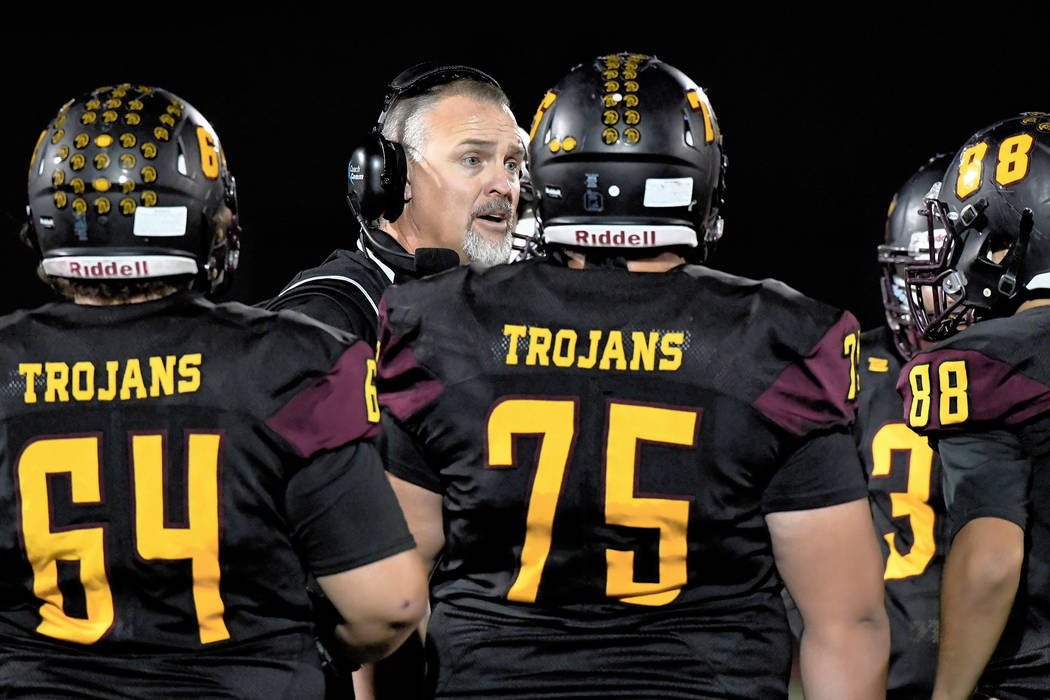 Peter Davis/Special to the Pahrump Valley Times Pahrump Valley High School football coach Joe Clayton was named the Class 3A Southern Region coach of the year after the Trojans went 7-4, went unde ...