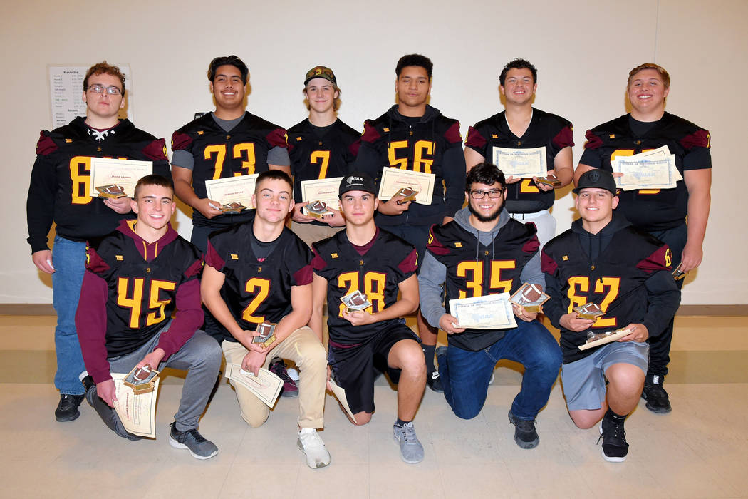 Peter Davis/Special to the Pahrump Valley Times Recipients of Pahrump Valley football team awards as chosen by the coaches. Front row from left, Tristan Maughan, Joey Koenig, Dylan Grossell, Nico ...