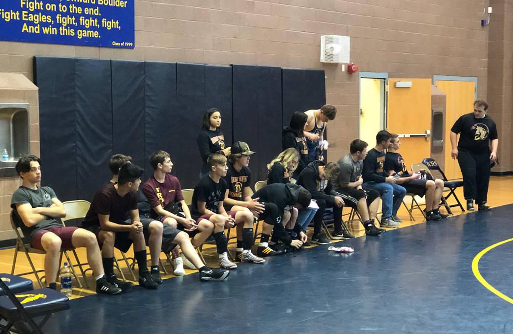 Tom Rysinski/Pahrump Valley Times Pahrump Valley wrestlers relax between matches Saturday at the Boulder City Duals.