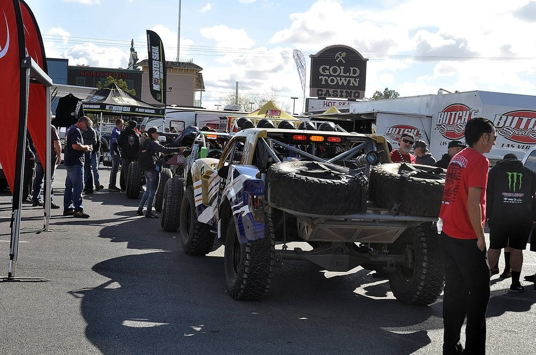 Horace Langford Jr./Pahrump Valley Times Off-road vehicles line up Friday in the Pahrump Nugget's parking lot for technical inspection the day before the Best in the Desert Racing Association's Pa ...
