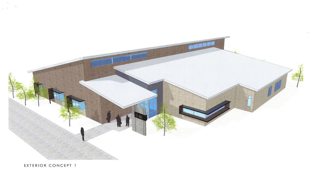 Nevada National Security Site A rendering of a 13,900-square-foot Building 1 at the Nevada National Security Site. The building will be the second net-zero energy building at the facility with fi ...