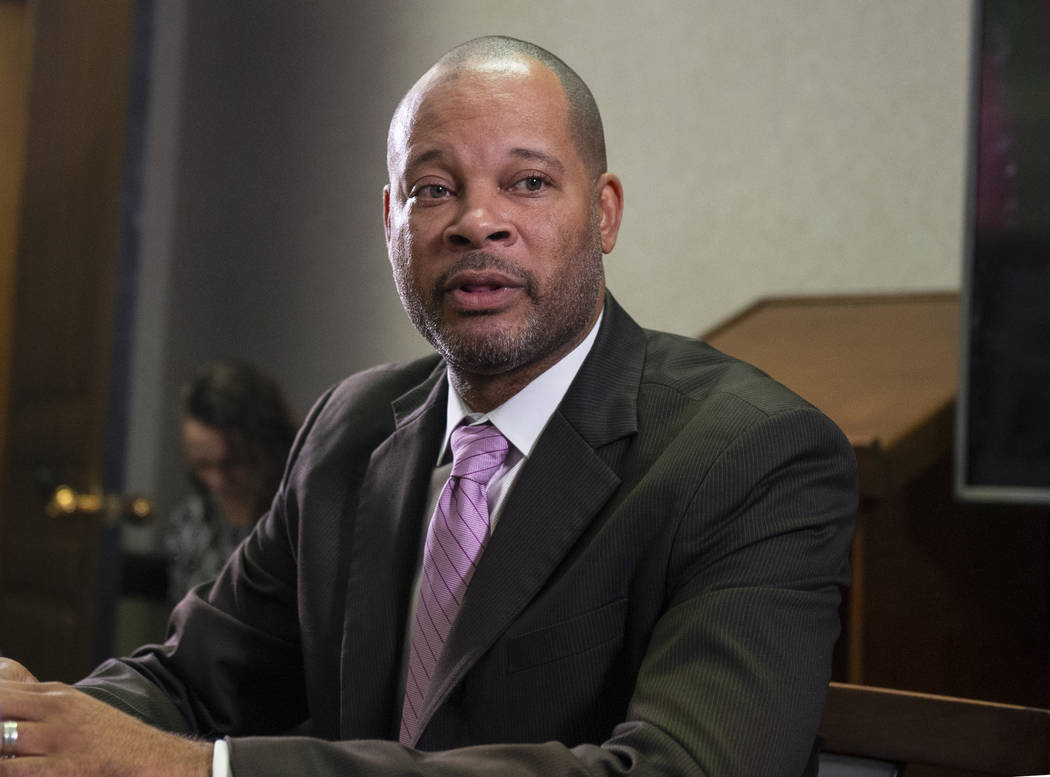 Caroline Brehman/Las Vegas Review-Journal Aaron Ford speaks to the Las Review-Journal's reader panel about his platform going into the 2018 midterm elections in Las Vegas, Tuesday, Oct. 16, 2018.