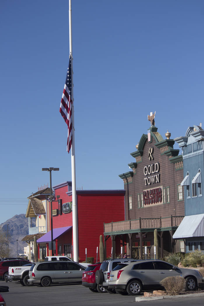 Jeffrey Meehan/Pahrump Valley Times The flag in front of the Gold Town Casino was lowered to half staff in recognition of the passing of George H.W. Bush Bush, the 41st president of the United States.