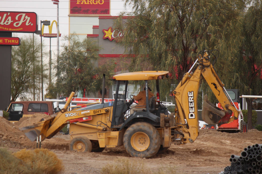 Jeffrey Meehan/Pahrump Valley Times Crews work on a new Starbucks location heading to Pahrump on Nov. 29, 2018. Details on an opening date are still unknown.