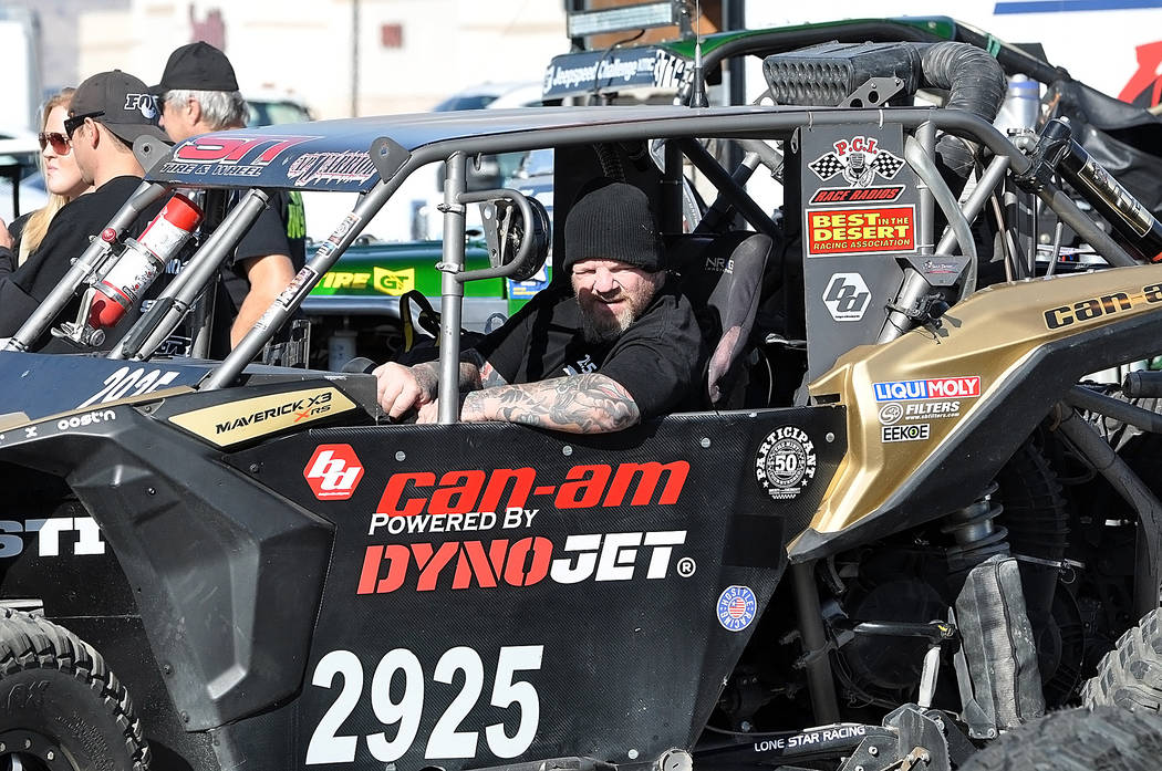 Horace Langford Jr./Pahrump Valley Times Jeremiah Drew of Las Vegas sits in his UTV on Friday in the parking lot of the Pahrump Nugget waiting for his turn for a technical inspection before the Pa ...